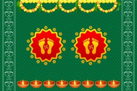 vector illustration of footprints of Goddess Lakshami on Diwali Vector