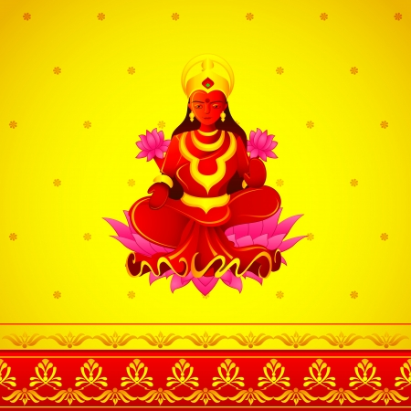 vector illustration of Godess Lakshmi in Diwali Vector