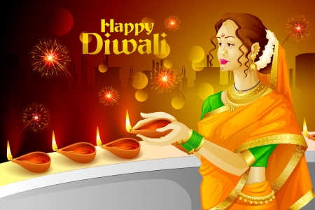 vector illustration of Indian lady with Diwali diya