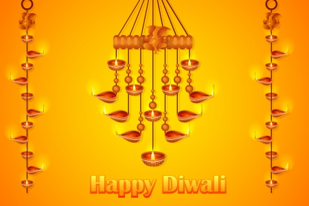 mangal: illustration of Lord Ganesha in hanging diya for Happy Diwali Illustration