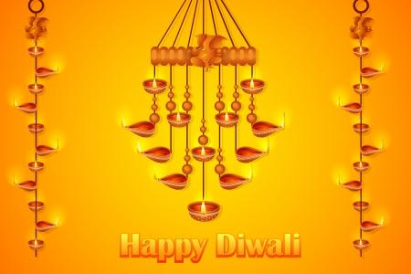 mangal: illustration of Lord Ganesha in hanging diya for Happy Diwali Illustration
