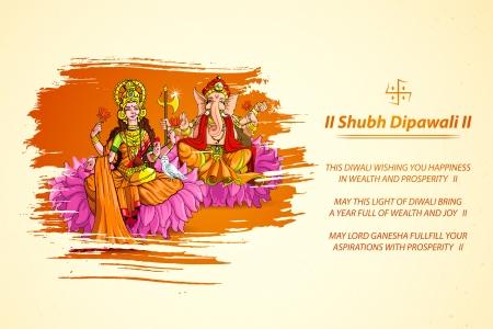 lord ganesha: ilustraci�n de la diosa Lakshmi y Ganesha en Diwali