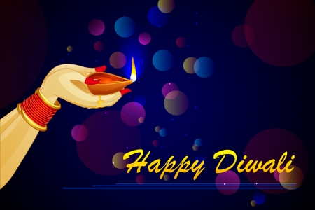 dipawali: vector illustration of Indian lady with Diwali diya