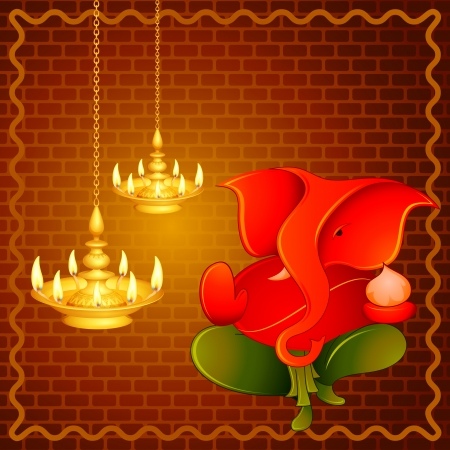 vector illustration of Lord Ganesha with Diwali diya Vector