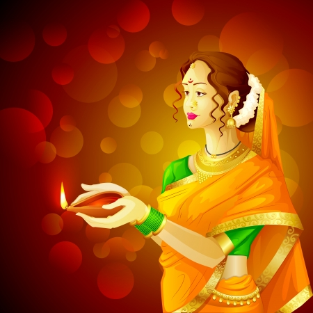 vector illustration of Indian lady with Diwali diya Stock Vector - 22725448