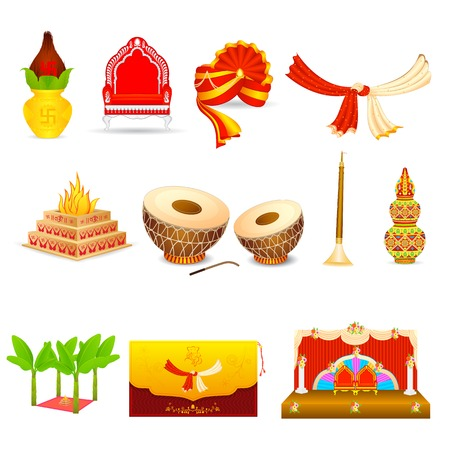 boda: ilustración vectorial de objetos boda india