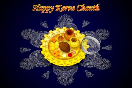 vector illustration of Indian Puja Thali for Karva Chauth illustration
