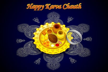 thali: vector illustration of Indian Puja Thali for Karva Chauth