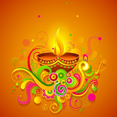 vector illustration of Happy Diwali diya with colorful floral Stock Illustration - 26446011