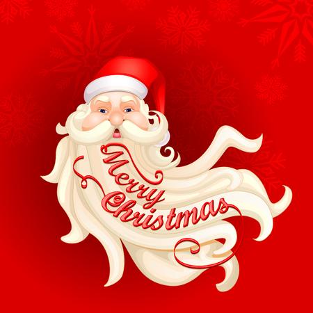 vector illustration of Santa Clauss beard forming Merry Christmas illustration