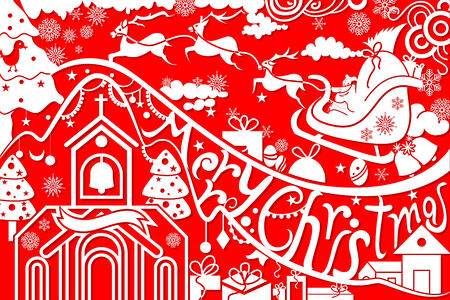 vector illustration of Merry Christmas with Santa flying illustration