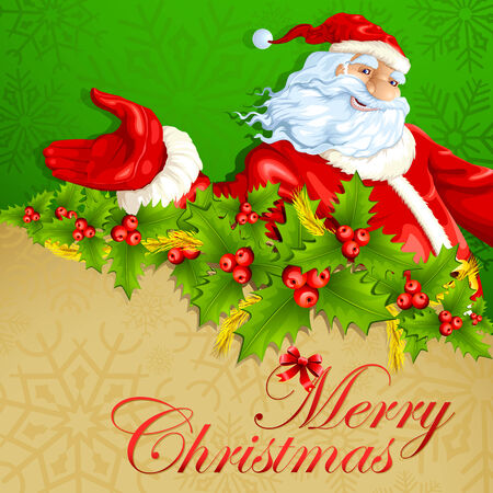 vector illustration of Santa Claus in Merry Christmas background illustration
