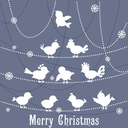 vector illustration of birds forming Christmas tree illustration