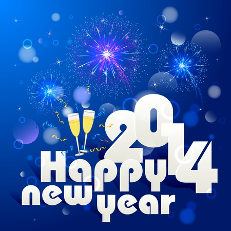 vector illustration of new year greeting for 2014 with firework Stock Illustration - 26446797