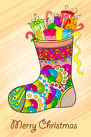 vector illustration of Christmas stocking with gift illustration