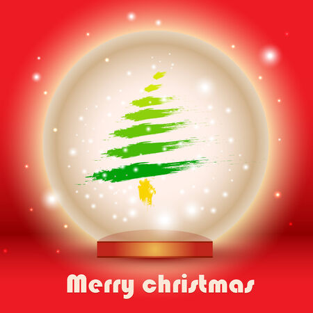vector illustration of Christmas glass globe with pine tree illustration