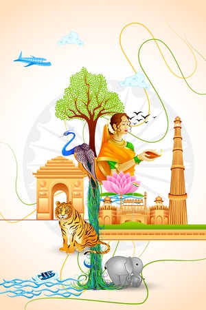 15 august: vector illustration of Culture of India