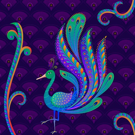 pluma de pavo real: ilustraci�n vectorial de colorido pavo real decorado