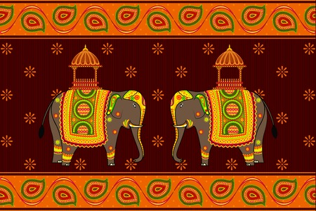 asian and indian ethnicities: vector illustration of decorated elephant