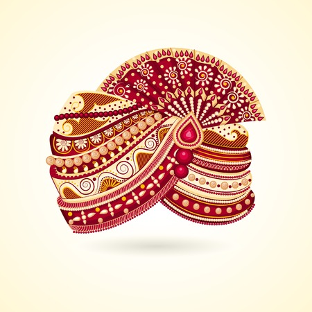 asian and indian ethnicities: vector illustration of colorful Indian turban for marriage