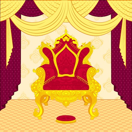 the majesty: vector illustration of colorful royal throne