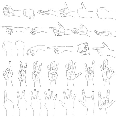vector illustration of collection of hand gestures Stock Photo