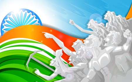 aug: vector illustration of people raising hand in Indian Tricolor flag