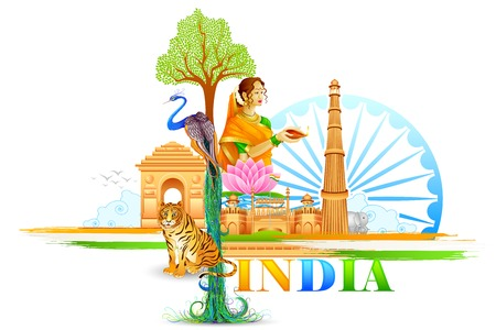 enero: ilustración vectorial de la India Wallpaper
