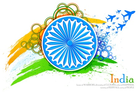vector illustration of grungy Indian Flag with Ashoka Chakra and flying jet illustration