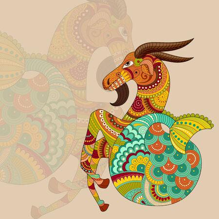 fortunetelling: vector illustration of Capricorn Zodiac Sign Stock Photo