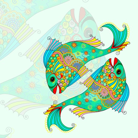 destiny: vector illustration of Pisces Zodiac Sign Stock Photo
