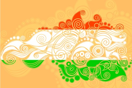 vector illustration of floral swirl in Indian tricolor flag