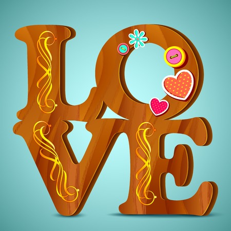 vector illustration of wooden Love word