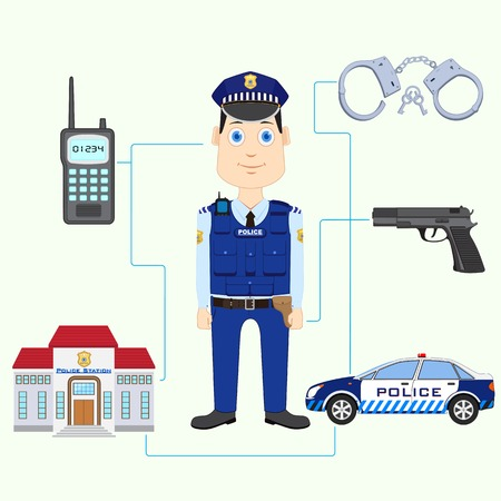 vector illustration of policeman with gun illustration