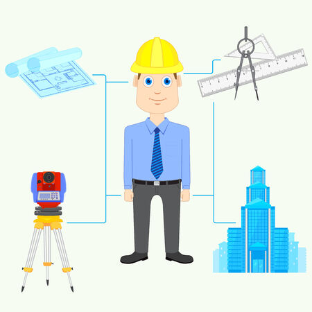 architect tools: vector illustration of Architect with equipment Stock Photo
