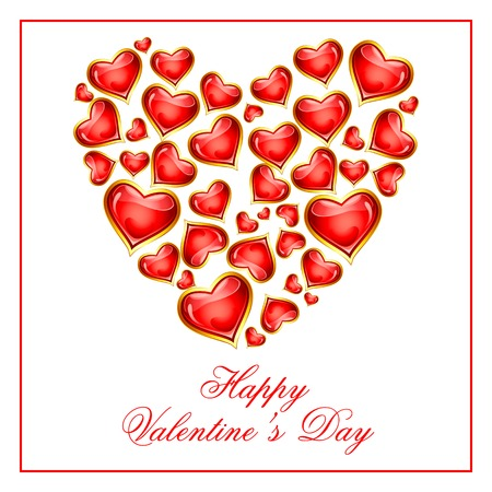 vector illustration of Happy Valentine's Day hearts illustration