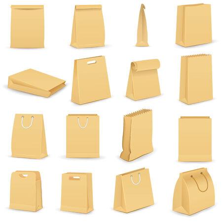 ilustración vectorial de la colección de la bolsa de papel marrón