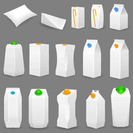 vector illustration of different shape packaging illustration
