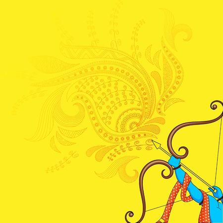 vector illustratie van Rama doden Ravana in Happy Dussehra Stockfoto
