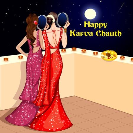 celebrating: vector illustration of Indian Lady celebrating Karva Chauth