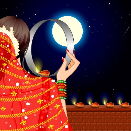 indian saree: vector illustration of Indian Lady celebrating Karva Chauth