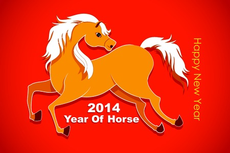 vector illustration of Horse in New Year background illustration