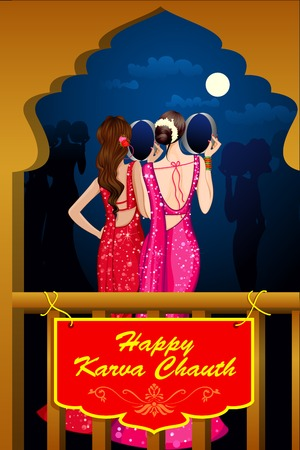 saree: vector illustration of Indian Lady celebrating Karva Chauth