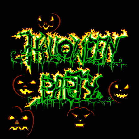 halloween spider: Halloween party poster with glowing pumpkin Stock Photo