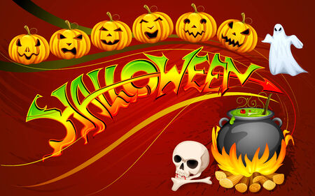 boo: vector illustration of Halloween poster with glowing pumpkin Stock Photo
