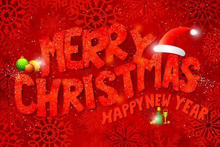 vector illustration of Merry Christmas Typography Background illustration