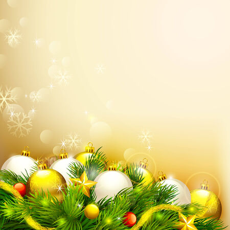 vector illustration of elegant Christmas background with baubles illustration