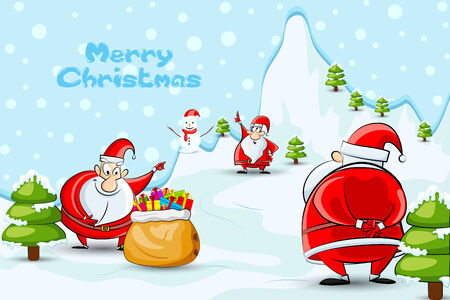 vector illustration of Father Santa with Christmas gifts illustration