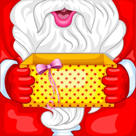 vector illustration of Santa with Christmas Surprise opening gift box illustration