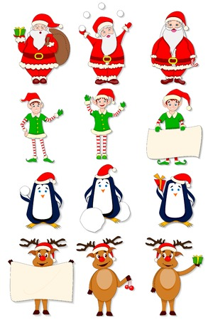 vector illustration of funny Christmas character against white illustration